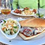 filet medallion portobello hoagie and beef tacos in back