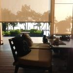 view of pool from restaurant/buffet area