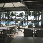 Breakfast overlooking the pool and sea