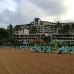View from the beach back towards the pool