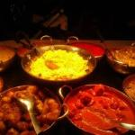The vibrant colours of the Indian dishes....