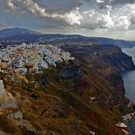 View of Fira. The Scirocco is in the bottom centre of the white buildings in this photo