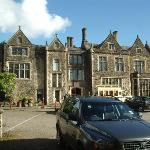 Front of Miskin Manor and bridesmaid's wedding bus!