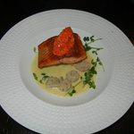 steelhead trout and scallops in pernod creme.