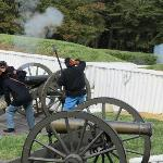 Demonstration of artillery firing