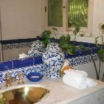 The blue and white tiled bathroom