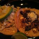 Fish Taco and Corn & Rajas Tacos