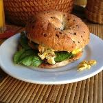 Delicious scrambled egg bagel at the guesthouse!