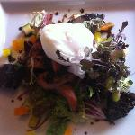 Bacon, black pudding and poached egg salad