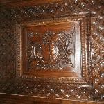 carving on fireplace
