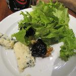 blue cheese, prunes, walnuts and lettuce
