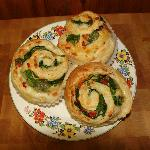 Spinaqch, roasted bell pepper & mozzerella pin wheels