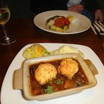 Beef cobbler and cod loin