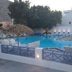 Evening shot of pool with nice lighting.