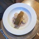 Fillet of bacon crumb crusted salmon