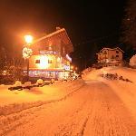 Hotel at night in winter