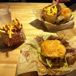 bbq bacon cheeseburger and american burger with fries