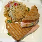 Grilled turkey sandwich with quinoa