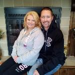 My fiance Ryan and I, Pam took this in front of the fireplace