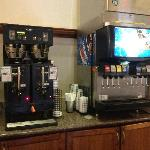 Coffee machine and soda machine available during daytime