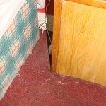 Dettaglio del materasso, del comodino e la moquette