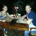 Tatiana and I enjoying a great meal at the Aston Kuta