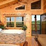 Private indoor whirlpool tub bedroom with 35 mile view