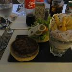My hamburger and fries-exquisitely displayed