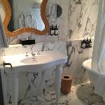 Marble bathroom to the hilt.