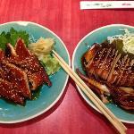 Anago sashimi and Ikayaki