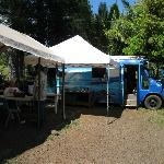 The seating area and food truck