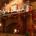 The beautiful fireplace decorated for Christmas