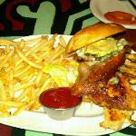 blue cheese burger substituted for grilled chicken had grilled onions bacon avocado blue cheese