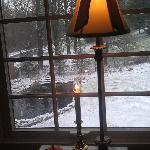 View of the pond from our room on snowy morning