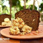banana cake with amaranth and caramelized nuts