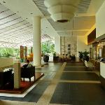 the lobby, one side of it