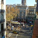 View of La Rambla from balcony