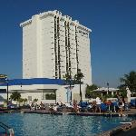 View of hotel from the pool.