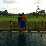 us at the pool with amazing view