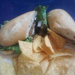 Pesto Portobello Po'Boy w/ tortilla chips