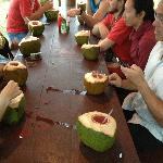 En La Boca trip - having drinks from fresh coconut