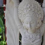 Stone statues adorn the resort rounds