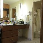 2-queen studio: bathroom sink area. We have a lot of stuff!