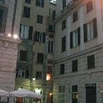 Access to hotel from the piazza (the hotel is the building at the rear, middle)