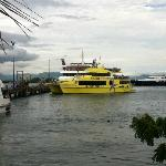 High speed catamaran (yellow) returning from Yasawas (outer islands day trip)