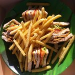 Disappointing club sandwich w/ fries. Average.