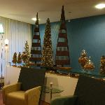 Lobby area with Christmas decorations