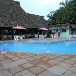 Dining area next to pool
