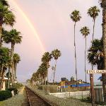 San Clemente - Rainbow over Amtrak Line at the Pier