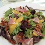 Garden salad with prosciutto, walnuts & oranges